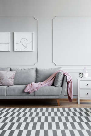 Vertical view of monochromatic living room with grey and white furniture, and patterned rug on the floor