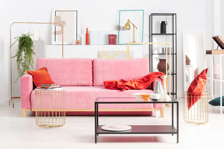 Powder pink couch with red pillow and blanket in apartment full of art and shelves, real photo Stock Photo