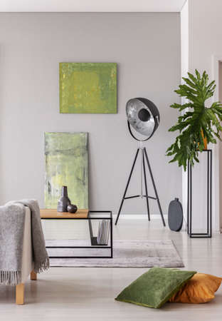 Lamp next to green paintings in grey apartment interior with pillows and plant on table. Real photo Stock Photo