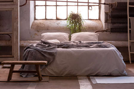 Real photo of a wabi sabi bedroom interior with a bed, plant and wooden stool in front
