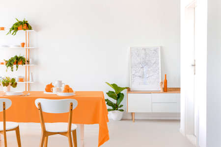 Plant next to cabinet with poster in white dining room interior with chairs at orange table. Real photo