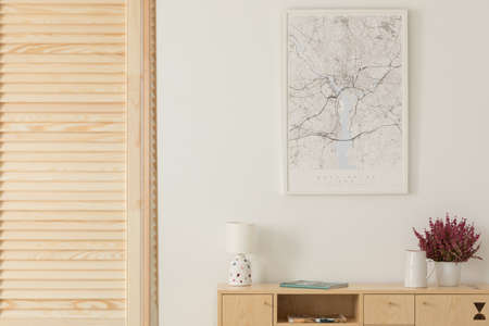 Wooden screen next to wooden cabinet with lamp, vase and heather in white pot, map in white frame on the wall, real photo