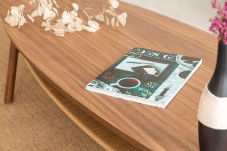 Colorful magazine on the wooden table in stylish living room of modern apartment, real photo Stok Fotoğraf