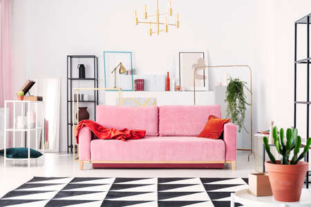 Metal shelves and abstract paintings behind powder pink couch in elegant white living room, real photo