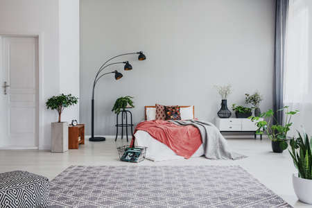 Full of trendy bedroom with comfortable king size bed, white wooden bed side table and plant, with copy space on the empty wall