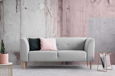 Wabi sabi living room with shabby grey and pink wall, real photo with copy space Stock Photo