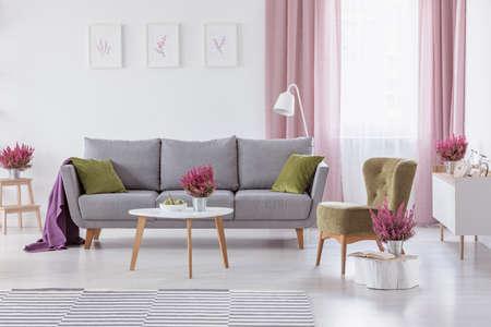 Grijze bank met groene kussens en paarse deken in echte foto van wit woonkamerinterieur met salontafel met fruit en heide, posters op muur en raam met witte en vuile roze gordijnen Stockfoto