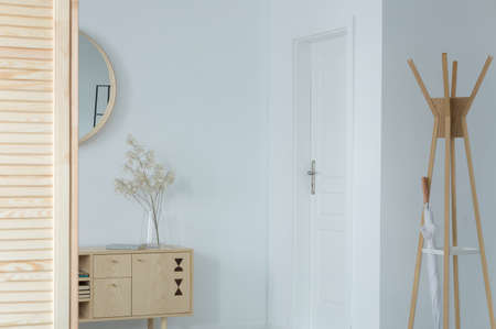 Classic entrance hall with white walls, door and wooden furniture,..