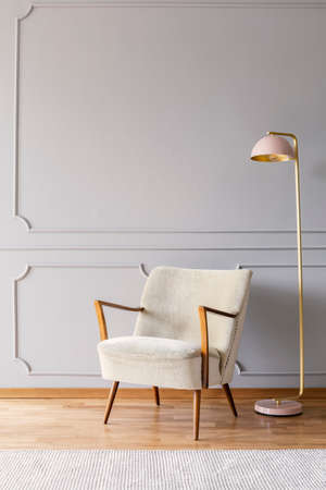 Real photo of pastel pink metal lamp standing by the white armchair in bright sitting room interior with wooden floor, carpet and empty place for your poster on wall with wainscoting