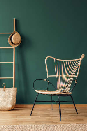 Rattan armchair next to bag and hat on ladder in green living room interior with rug.