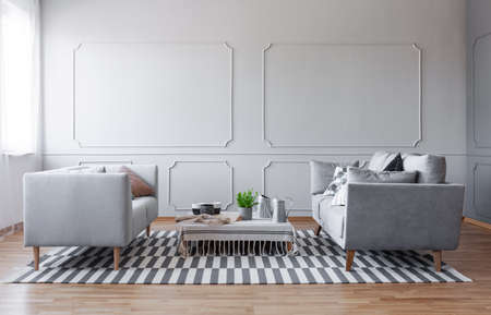 Copy space on the empty wall of elegant grey living room with two comfortable sofa and small coffee table, real photo