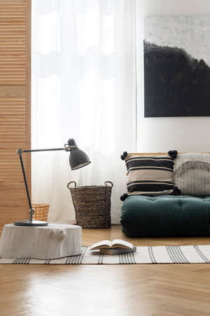 Japanese inspiration in stylish bedroom, real photo with mockup on the wall