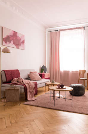 Coffee tables and old school pouf on pastel pink carpet in elegant living room with pillows and blankets on grey comfortable couch