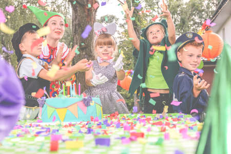 Outdoor birthday dressing up party for kids