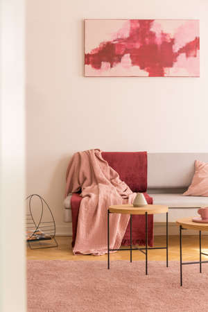 Red and pink poster above grey couch with blankets in living room interior with carpet. Real photo