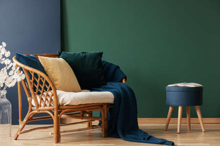 Image result for rattan with dark green wall