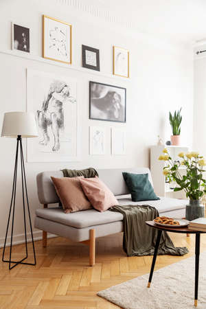 Lamp next to grey sofa with cushions in white flat interior with posters and flowers. Real photo Stock Photo