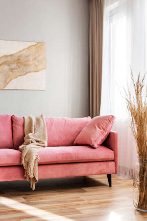 Beige blanket on pink couch in bright living room interior
