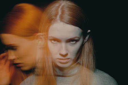 Multiple exposure of beautiful young woman with impulse control and addiction disorders 스톡 콘텐츠