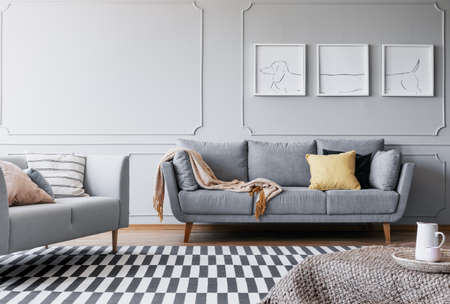 Real photo of a spacious living room interior with to sofa, triptych and striped carpet Stok Fotoğraf
