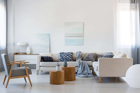 Elegant living room interior with corner sofa and retro armchair