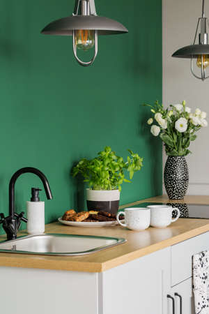 White roses in vase, herbs in pot, cookies on plate and coffee mugs on wooden counter in green kitchen Stockfoto