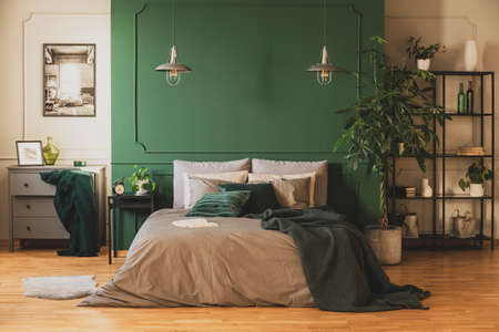 Industrial bookshelf and wooden commode in contemporary bedroom interior with urban jungle
