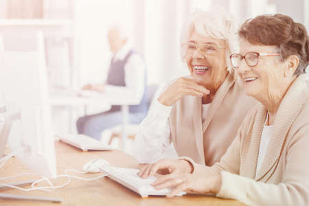 Bright photo of two smiling senior women with glasses during computer classes for elderly people at third age university