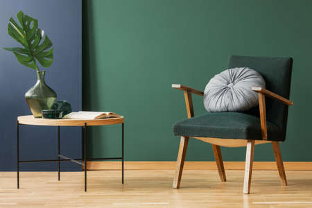 Retro moss green armchair with round, silver pillow next to wooden coffee table with leaf in glass vase, copy space on empty wall 스톡 콘텐츠