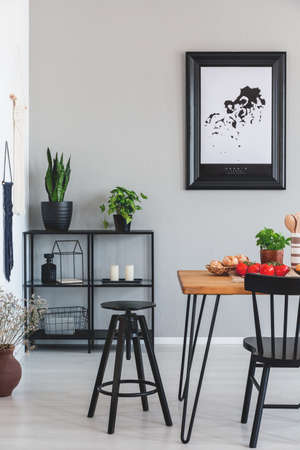 Real photo of black stool and shelf with plants in a dining room interior Stock Photo