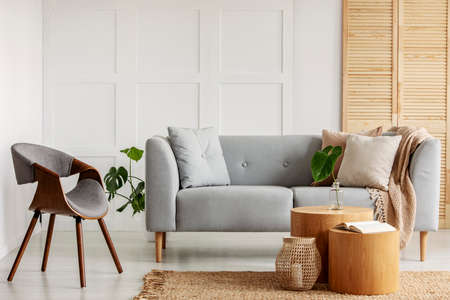 Modern armchair next to a sofa and wooden coffee tables in a living room interior Stock Photo