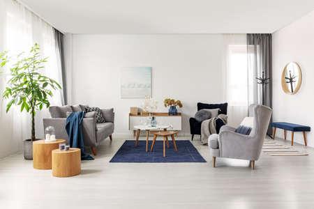 Amplio interior de salón escandinavo gris y azul marino