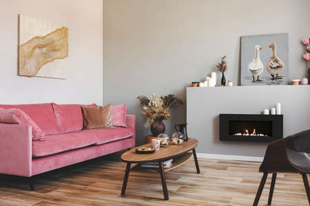 Paintings on the walls of grey living room interior with pink couch and bio fireplace