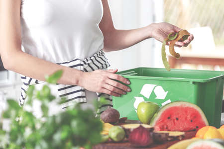 Closeup of eco friendly woman in the kitchen disposing of leftovers of kiwi into compost bin while preparing fruit salad Reklamní fotografie