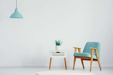 Retro armchair next to small white table with plant in pot in bright interior, real photo with copy space on the empty wall