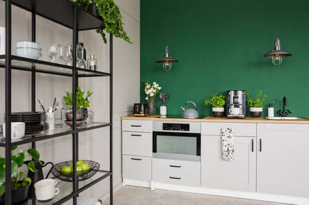 Two industrial lamps above kitchen furniture with herbs, coffee maker and roses in vase, copy space on empty green wall
