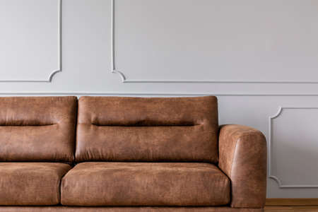 Leather sofa on a grey wall in a living room interior