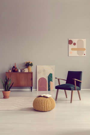 Mid century living room interior design with retro furniture Standard-Bild - 121161416