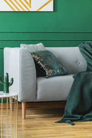 Emerald green pillow and blanket on scandinavian sofa in trendy living room Reklamní fotografie - 121161463