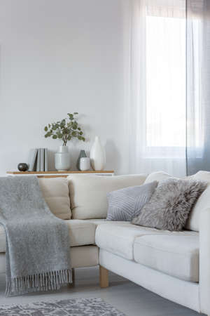 Verticale weergave van hoekbank met kussens en deken, kopieer ruimte op lege witte muur