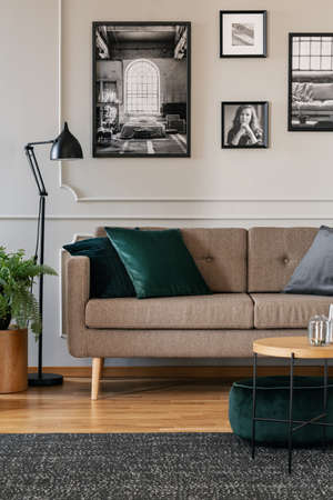 Pillows on brown sofa in fashionable living room interior with black and white posters on the wall