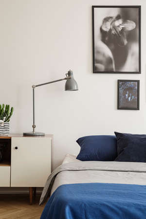 Vertical view of navy blue bed with bedside table and lamp. Grey framed artwork on the wall. Real photo concept Stockfoto