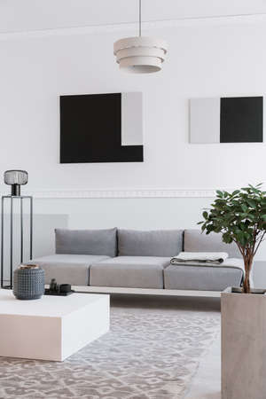 Fashionable industrial black lamp next to scandinavian sofa in bright living room 免版税图像