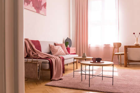 Pink blanket on sofa next to tables on purple carpet in flat interior with drapes at window. Real photo