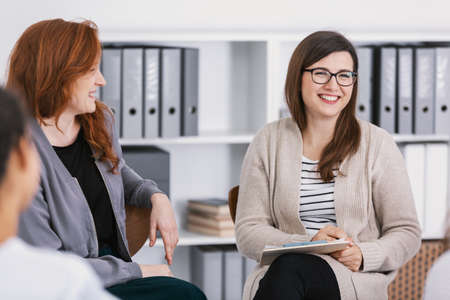 Support group during psychological therapy, training for women concept