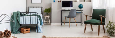 Spacious room for a teenager boy or girl, panoramic view Stockfoto