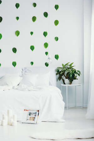 White bedroom interior with king size bed, urban jungle and green leaf on the wall