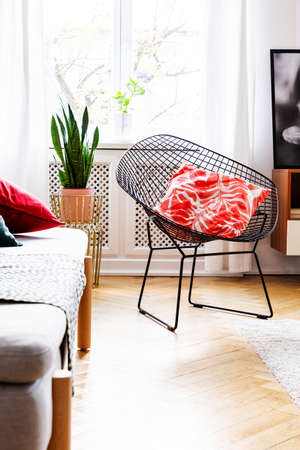 Patterned pillow on armchair in bright living room interior with plant next to window. Real photo Stock Photo