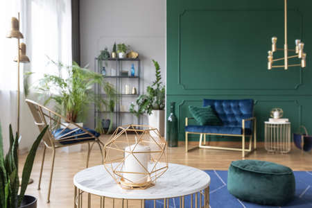 Candle on the table in modern elegant living room