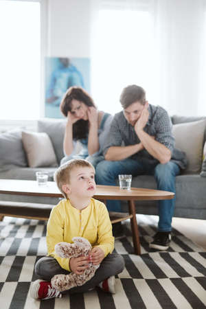 helpless parents and their badly behaving son at home Фото со стока
